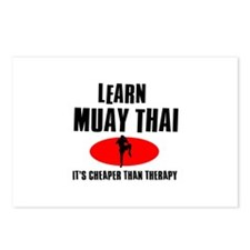 Muay Thai silhouette designs Postcards (Package of