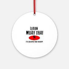 Muay Thai silhouette designs Ornament (Round)