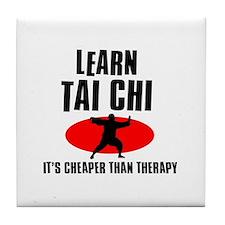 Tai Chi silhouette designs Tile Coaster