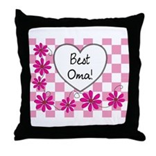 Best Oma Pink daisies Throw Pillow