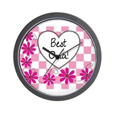 Best Oma Pink daisies Wall Clock