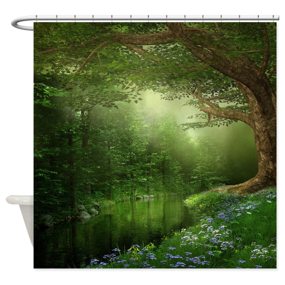 CafePress Summer Forest River Shower Curtain