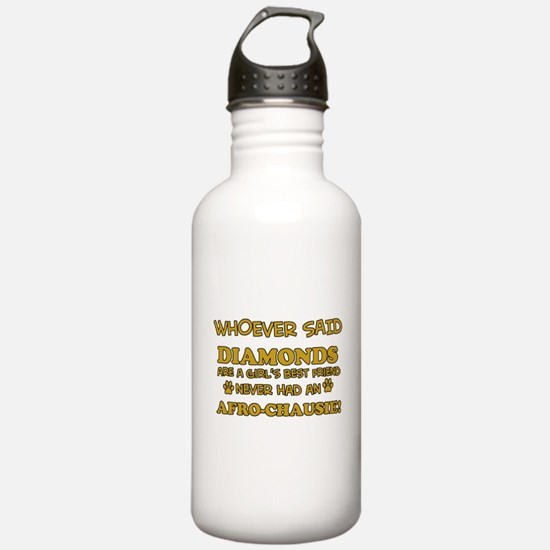 Afro Chausie cat vector designs Water Bottle