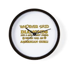 American Curl cat vector designs Wall Clock