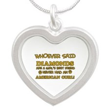 American Curl cat vector designs Silver Heart Neck