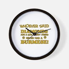 Burmese cat vector designs Wall Clock