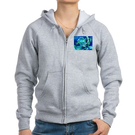 Tropical Fish in Turquoise and Cobalt Blue Zip Hoo