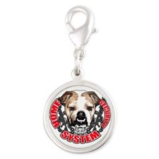 Bulldog Security System Silver Round Charm