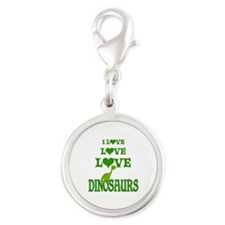Love Love Dinosaurs Silver Round Charm