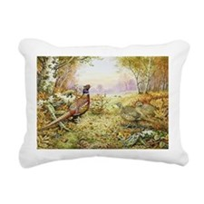 Pheasants in Woodland - Rectangular Canvas Pillow