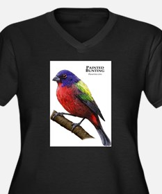 Painted Bunting Women's Plus Size V-Neck Dark T-Sh
