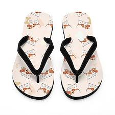 Basset Hound Puppy Love Pink Flip Flops