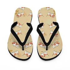 Basset Hound Puppy Love Tan Flip Flops