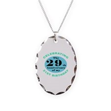 50th Birthday Humor Necklace Oval Charm