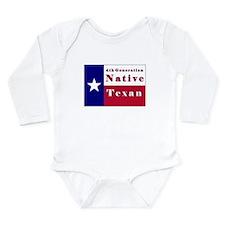 4th Generation Native Texan Flag Long Sleeve Infan