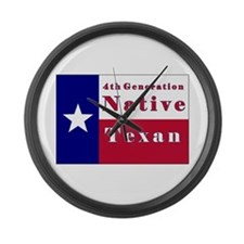 4th Generation Native Texan Flag Large Wall Clock