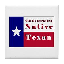 4th Generation Native Texan Flag Tile Coaster