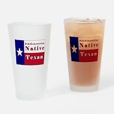 5th Generation Native Texan Flag Drinking Glass
