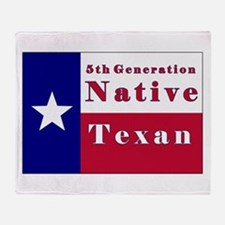 5th Generation Native Texan Flag Throw Blanket