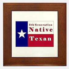5th Generation Native Texan Flag Framed Tile
