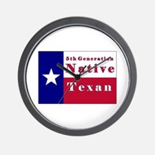 5th Generation Native Texan Flag Wall Clock