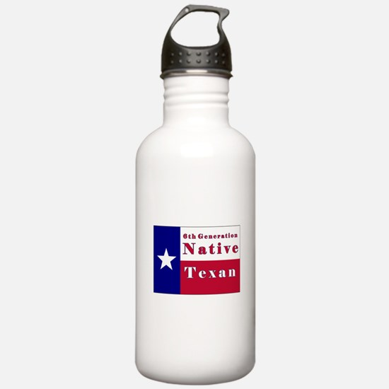 6th Generation Native Texan Flag Water Bottle