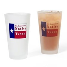 6th Generation Native Texan Flag Drinking Glass