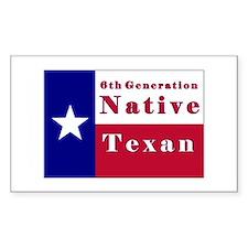 6th Generation Native Texan Flag Decal