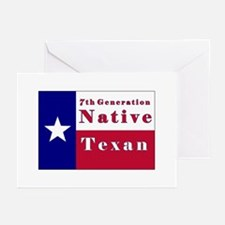 7th Generation Native Texan Flag Greeting Cards (P