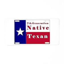 7th Generation Native Texan Flag Aluminum License