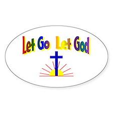 Let Go Let God Oval Stickers