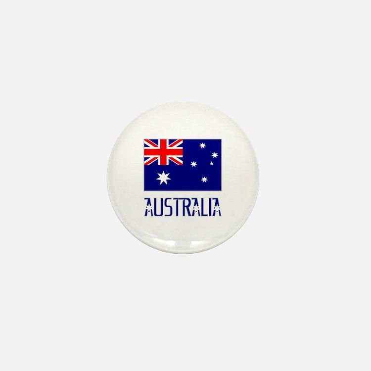 Australia Flag Name Grey Border Mini Button