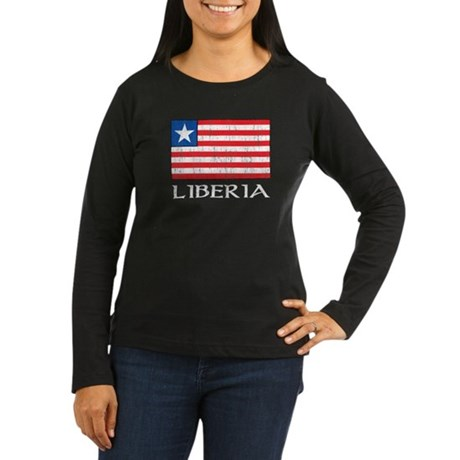 Liberia Flag Women's Long Sleeve Dark T-Shirt