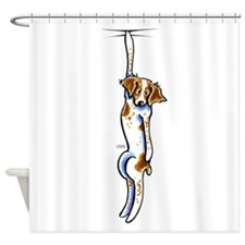 Clingy Brittany Off-Leash Art™ Shower Curtain