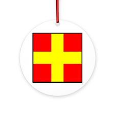 Nautical Flag Code Romeo Ornament (Round)