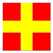 "Nautical Flag Code Romeo Square Car Magnet 3"" x 3"""