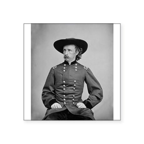 "George A. Custer Square Sticker 3"" x 3"""