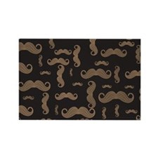 Retro Mustache Pattern Rectangle Magnet