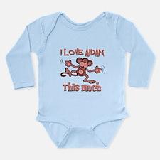 I love Aidan this much Long Sleeve Infant Bodysuit