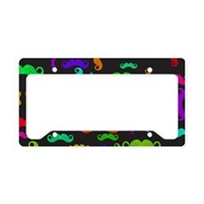 Colorful Mustache Pattern License Plate Holder