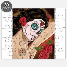 Blue Skull - dia de los muertos Pin-up Puzzle