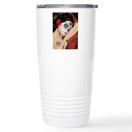 Blue Skull - dia de los muertos Pin-up Travel Mug