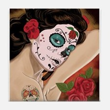 Blue Skull - dia de los muertos Pin-up Tile Coaste