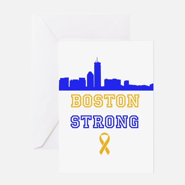 Boston Strong Skyline Blue and Gold Greeting Card
