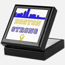 Boston Strong Skyline Blue and Gold Keepsake Box