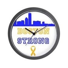 Boston Strong Skyline Blue and Gold Wall Clock