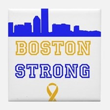 Boston Strong Skyline Blue and Gold Tile Coaster