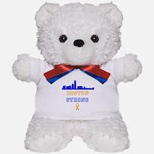 Boston Strong Skyline Blue and Gold Teddy Bear