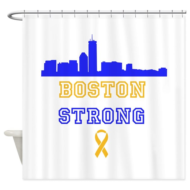 Boston Strong Skyline Blue And Gold Shower Curtain By