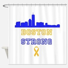 Boston Strong Skyline Blue and Gold Shower Curtain